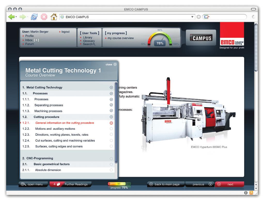 Sistema de e-learning para Tecnologia CNC – Ref. DT-MN011