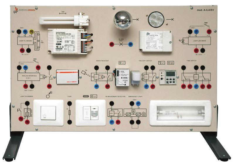 Painéis para Experimentos em Instalações Elétricas: Instalações Elétricas com Dispositivos Controlados Eletronicamente (Domótica) – Ref. DT-ET042.02